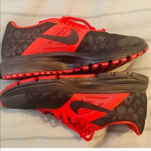 Black and red leopard Nike sneakers